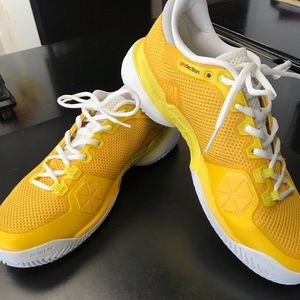 10.5 Adidas Barricade Shoes Yellow and White By 16